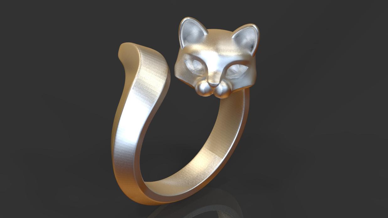 开口戒指 - 长尾猫咪